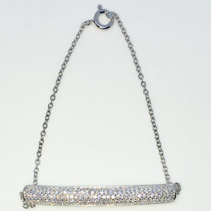 Silver 7 inch Row of round CZ cable chain Bracelet